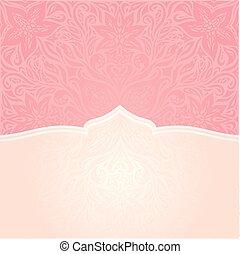 rosa, dekorativ, mode, &, tapet, utrymme, mandala, design, retro, inbjudan, toppmodern, avskrift, silver