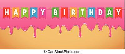 rosa, derretimiento, glaseado, dulce, cumpleaños, banderas,...