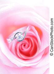rosa, diamante, romántico, rosa, alianza