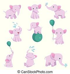 rosa, differente, bello, carattere, collezione, vettore, illustrazione, animale, elefante, bambino, pose
