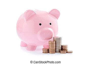 rosa, dinero, coins, cerdito, pilas, banco