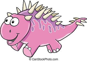 rosa, dinosauro, goofy, sciocco, vettore