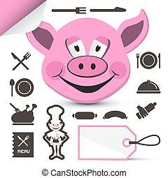 rosa, dirigere insieme, icone, menu, ristorante, -, isolato, maiale, chef, fondo, bianco