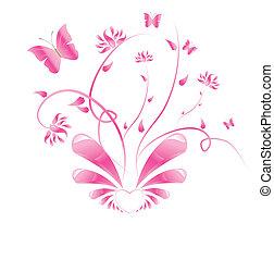 rosa, diseño floral, con, mariposas