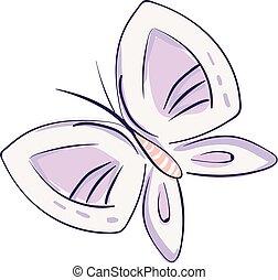 rosa, disegnato, semplicemente, farfalla