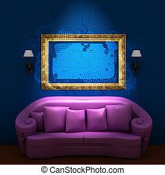 rosa, divano, con, cornice vuota, e, sconces, in, blu, minimalista, interno