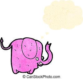 rosa, divertente, cartone animato, elefante
