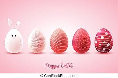 rosa, DIVERTENTE, uova, luminoso, fondo, pasqua