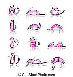 rosa, divertido, colección, gatos, diseño, su