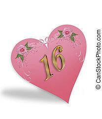 rosa, dolce, 16, grafico, cuore