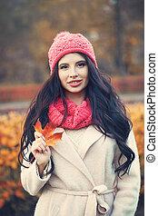 rosa, donna, autunno, fuori, cappello, felice