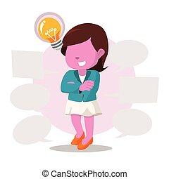 rosa, donna d'affari, molti, callouts