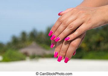 rosa, donna, unghia, mani, chiodo, manicured, pelle, care., closeup.