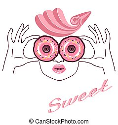 rosa, donuts, skizze, m�dchen, hand