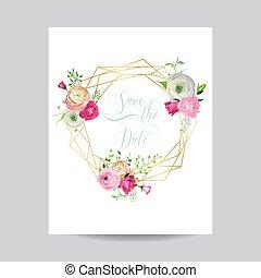 rosa, dorato, manifesto, scheda, testo, cornice, banner., augurio, illustrazione, template., data, flowers., vettore, posto, invito, matrimonio, floreale, risparmiare, tuo