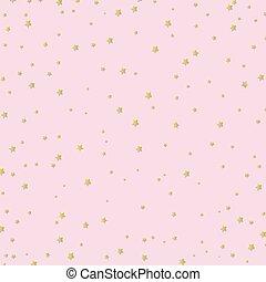 rosa, dorato, stelle, fondo