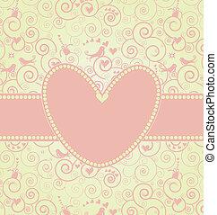 rosa, dulce, día, tarjeta, valentino