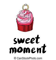 rosa, dulce, momento, cupcake