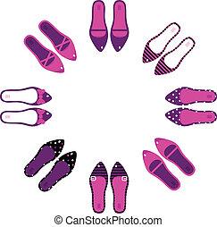 rosa, e, nero, retro, scarpe, in, cerchio, isolato, bianco