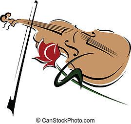 rosa, e, violino