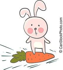 rosa, eared, colorare, grande, lepre, favorito, illustrazione, relativo, vettore, sentiero per cavalcate, disegno, carota, o, cartone animato
