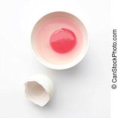rosa, ei, york, mit, ei schale, auf, klein, schüssel