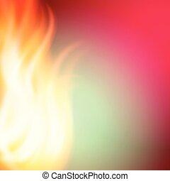rosa, eld, abstrakt, grön fond, design, din