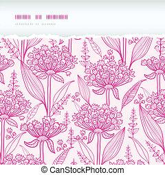 rosa, elementi, modello, strappato, seamless, mano, vettore, fondo, lillies, disegnato, lineart, orizzontale