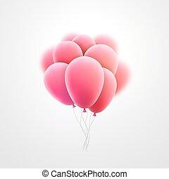 rosa, elementi, volare, realistico, vettore, lucido, vacanza...