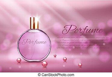 rosa, elementos, botella, paquete, luz, ilustración,...