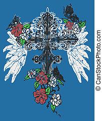 rosa, emblema, crucifixos