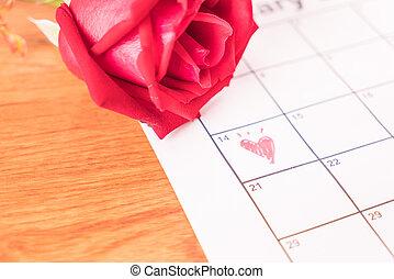 rosa, en, el, calendario, con, el, fecha, de, february 14, día de valentín