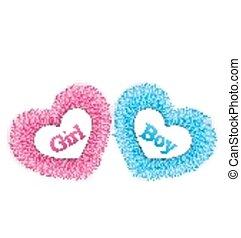 rosa, enthüllen, geschlecht, blaues, dusche, dusche, baby