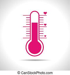 rosa, eps10, vector, thermometer., tiempo, amor, icon.