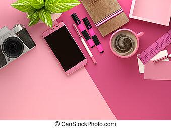 rosa, escritorio, espacio trabajo, disposición