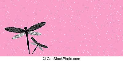 rosa, espacio, libélulas, dos, ilustración, plano de fondo, ...