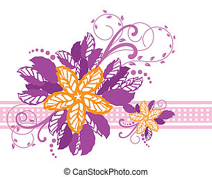 rosa, estandarte floral, amarillo