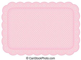 rosa, estera, polca, lugar, mantelito, punto, encaje