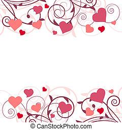 rosa, estilizado, rama, plano de fondo, corazones