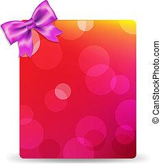 rosa, etichetta, vuoto, arco regalo