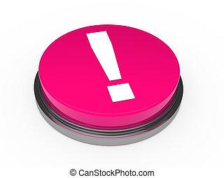 rosa, exclamación, botón, 3d, marca