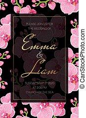 rosa, exotische , frame., lila, einladung, rechteckig,...