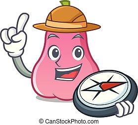 rosa, explorador, maçã, caricatura, mascote
