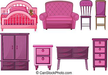 rosa, färg, furnitures