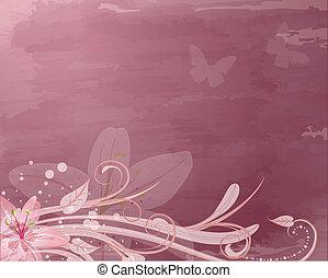 rosa, fantasía, flores, retro