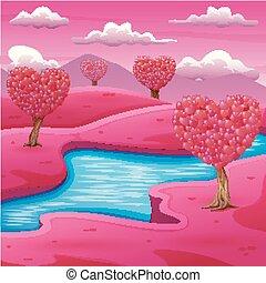 rosa, feld, fluß, karikatur, landschaftsbild