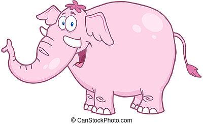 rosa, felice, elefante