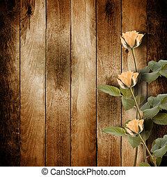 rosa, felicitación, postal, vendimia, rosas, plano de fondo,...