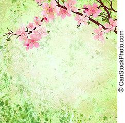 rosa, fiore ciliegia, ramo, su, verde, grunge, fondo, pasqua, illustrazione, idea