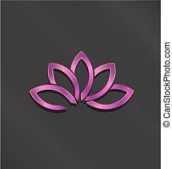 rosa, fiore loto, logo., vettore, icona